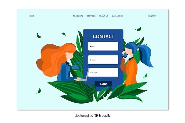 Contáctenos página de destino del cliente vector gratuito