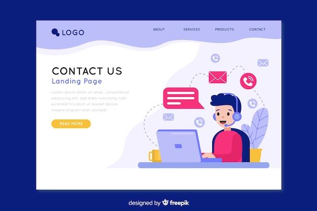 Contáctenos página de inicio de la empresa vector gratuito