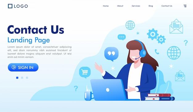 Contáctenos vector de ilustración del sitio web de la página de destino Vector Premium