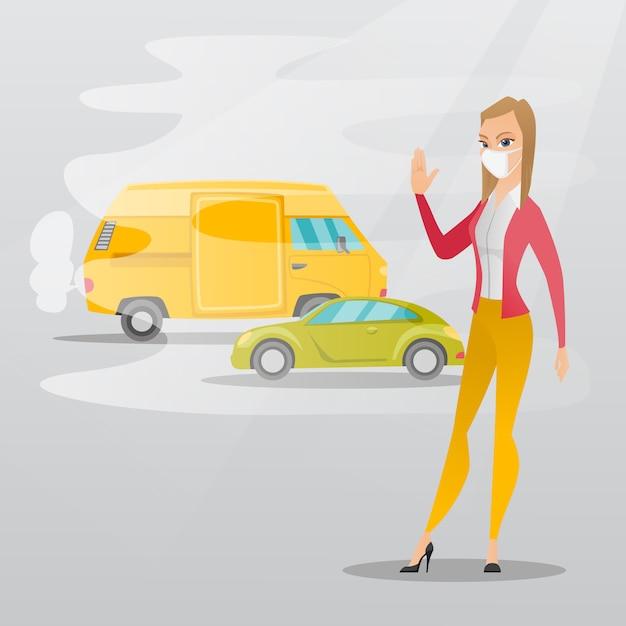 Contaminación del aire por los gases de escape del vehículo. Vector Premium