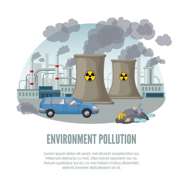 Contaminación ambiental de dibujos animados ilustración vector gratuito