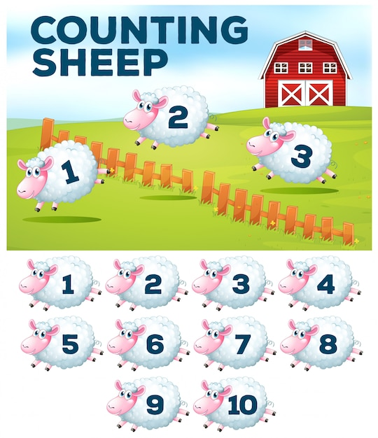 Contando el concepto de granja de ovejas Vector Premium