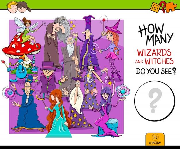 Contando magos juego educativo para niños Vector Premium