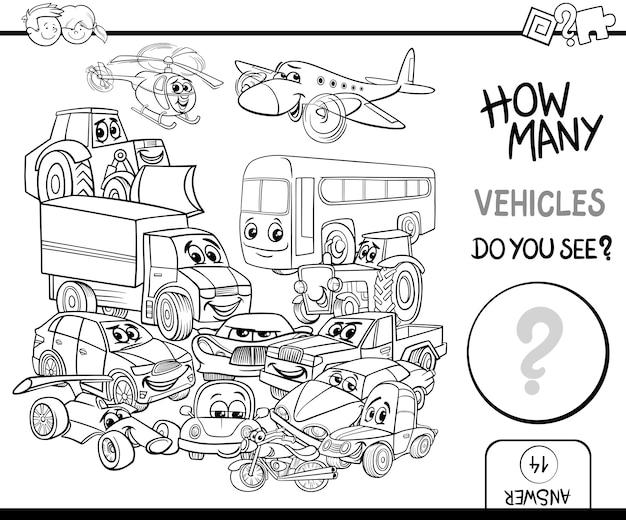 Contando vehículos para colorear   Descargar Vectores Premium