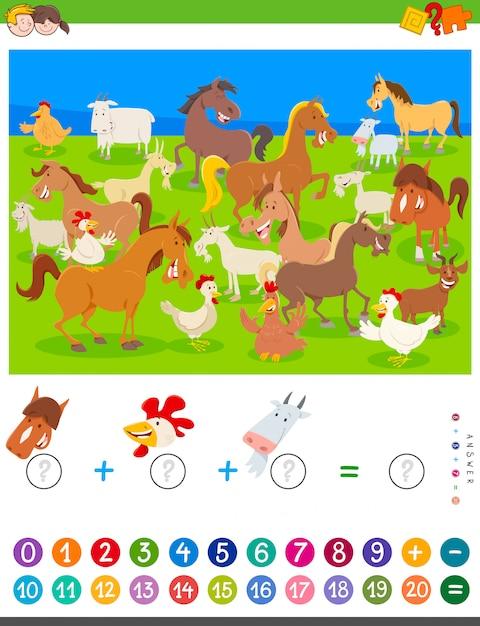 Contar y agregar juegos con animales de granja de dibujos animados Vector Premium