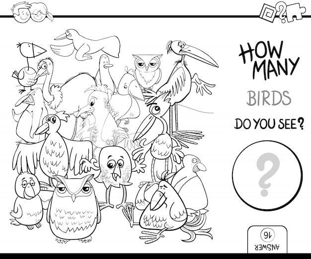 Contar aves para colorear actividad del libro | Descargar Vectores ...