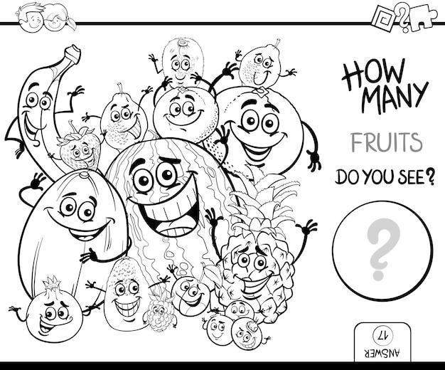 Contar frutas para colorear libro | Descargar Vectores Premium