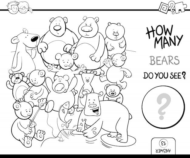 Contar osos para colorear actividad del libro | Descargar Vectores ...