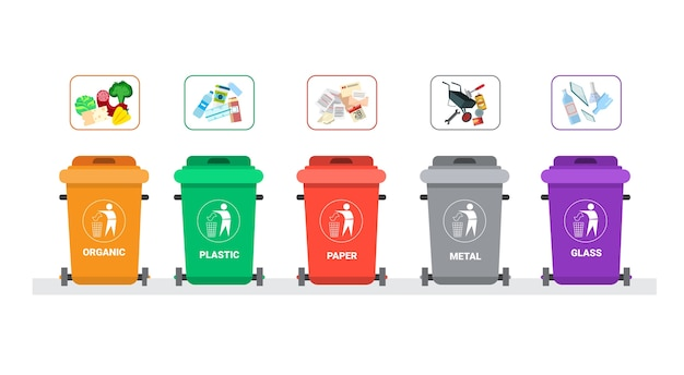Contenedor de basura para clasificar residuos descargar - Colores para reciclar ...