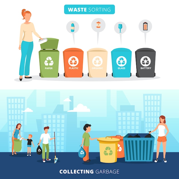 Contenedores de clasificación de residuos para papel plástico, vidrio y pancartas de baterías con recolectores de basura vector gratuito