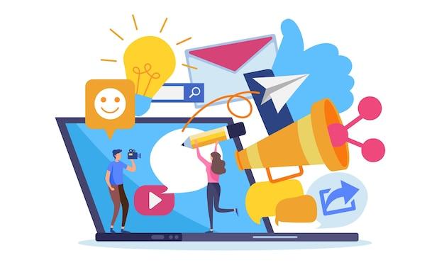 Contenido de marketing en línea de la red social. Vector Premium