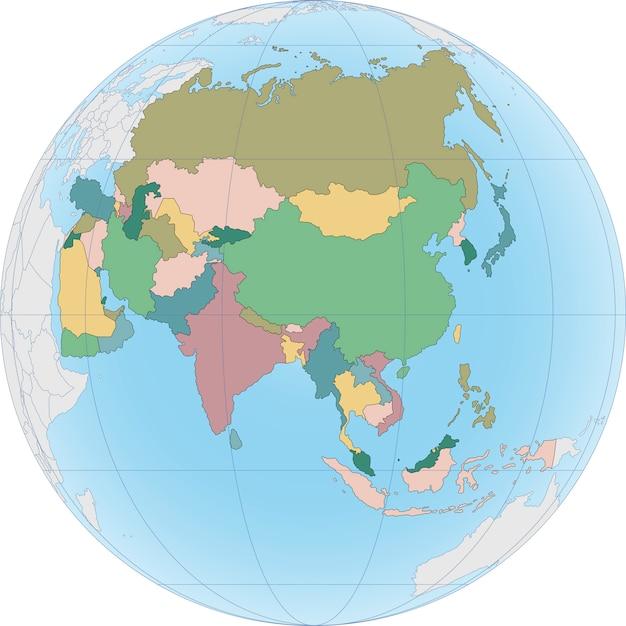 El continente asiático está dividido por países en el mundo Vector Premium