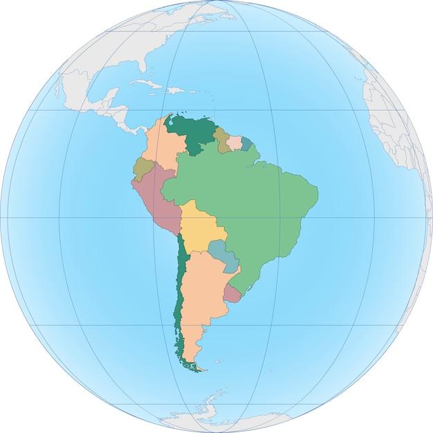 El continente sudamericano está dividido por país. Vector Premium