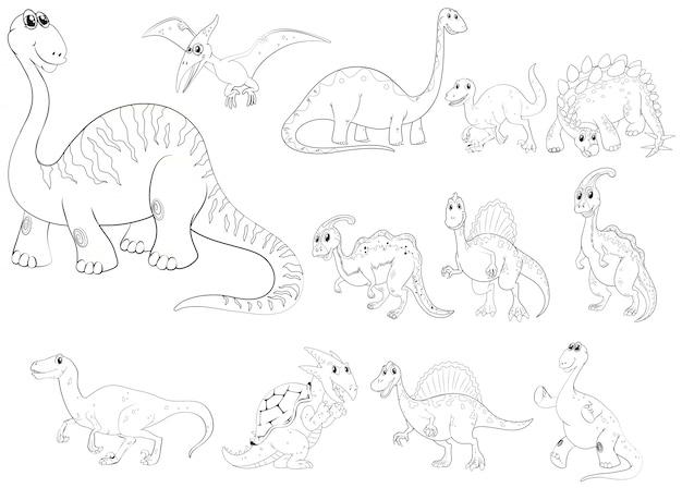 Contorno de animales para diferentes tipos de dinosaurios vector gratuito