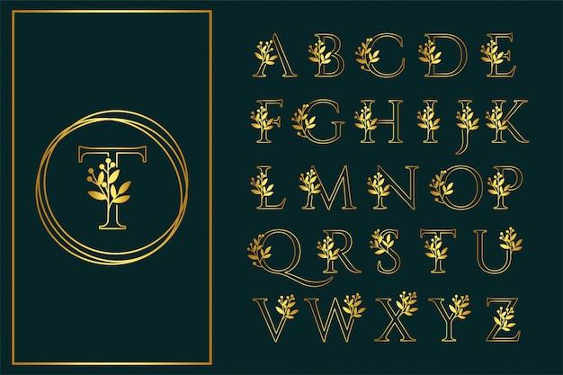 Contorno de fuente floral logotipo de boda de san serif hermosa Vector Premium