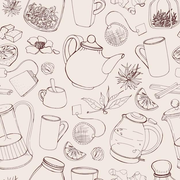 Contorno de patrones sin fisuras con herramientas dibujadas a mano para preparar y beber té Vector Premium