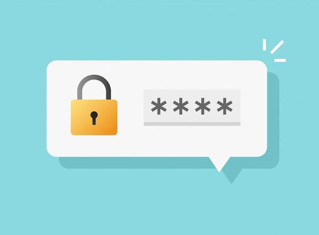Contraseña acceso seguro aviso de acceso o código de verificación de autenticación nota mensaje burbuja icono de voz plana dibujos animados Vector Premium