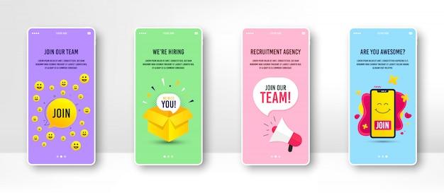 Contratación y contratación de banner en la pantalla del teléfono. Vector Premium
