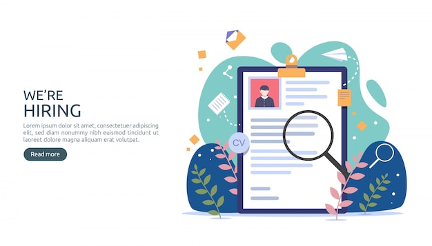 Contratación de empleo y concepto de reclutamiento en línea con carácter de personas diminutas. seleccione un proceso de reanudación. Vector Premium