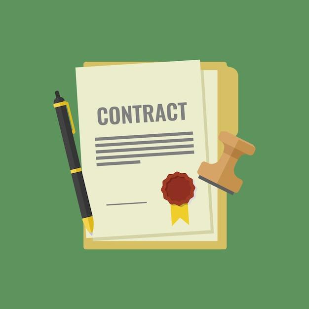 Contrato firmado y sellado, pluma, sello, documentos para la firma Vector Premium