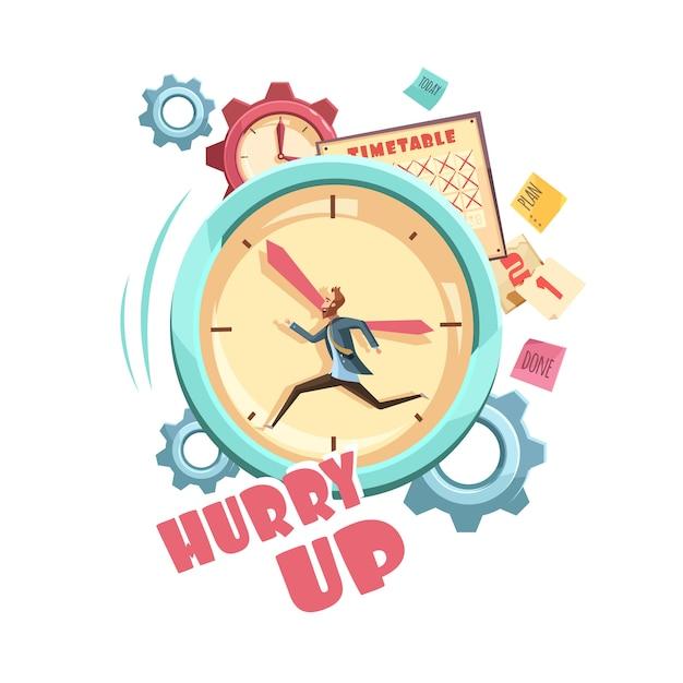 Control de tiempo de diseño de dibujos animados retro con hombre corriendo en el calendario de fondo del reloj y engranajes grises vector gratuito