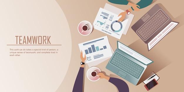 Conversación sobre una taza de café. ilustración vista superior Vector Premium