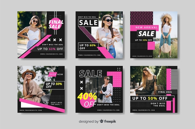 Cool fashion sale instagram post collection vector gratuito