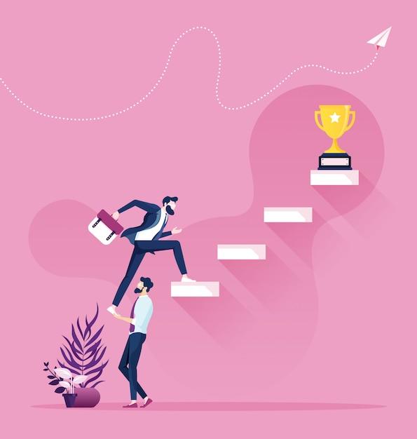 Cooperación y trabajo en equipo. empresario ayuda a subir en la escalera. Vector Premium