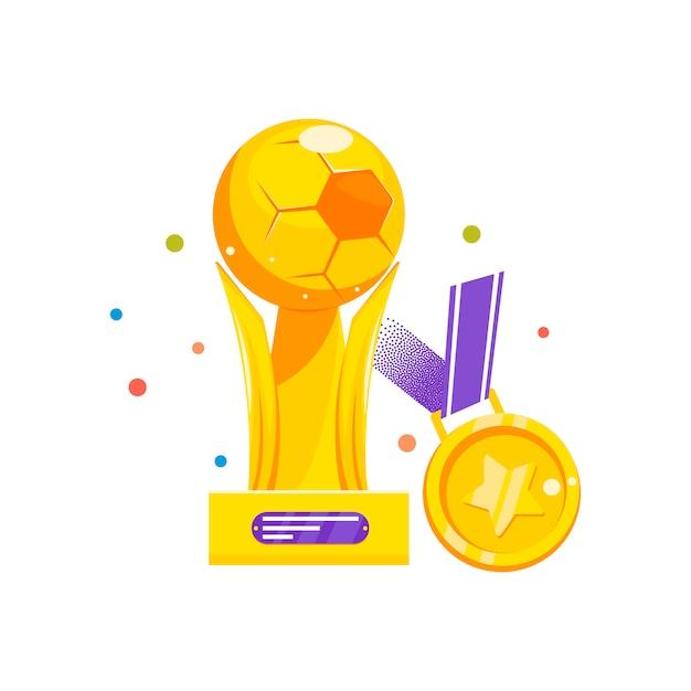 Copa y medalla para ganar el fútbol. vector gratuito