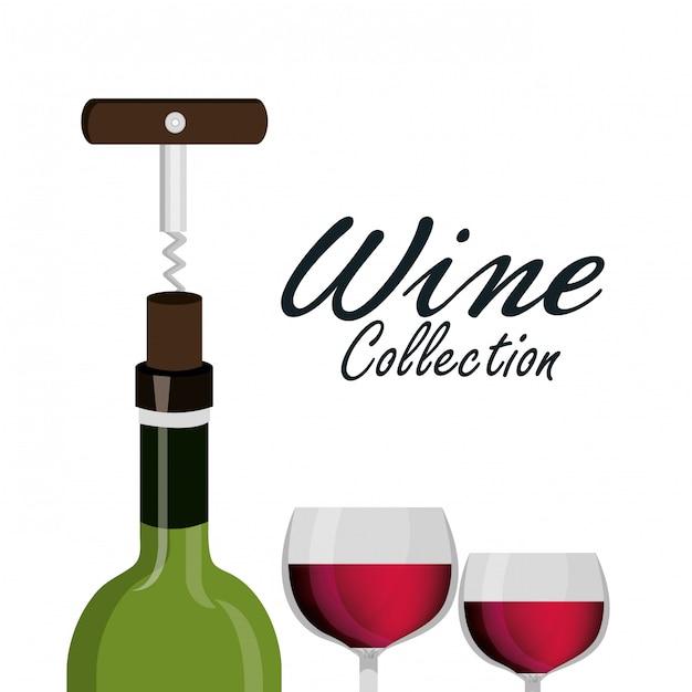 Copa de vino sacacorchos etiqueta diseño aislado Vector Premium