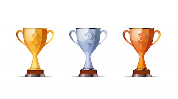 Copas de premios de los ganadores para el primer, segundo y tercer puesto de los ganadores Vector Premium