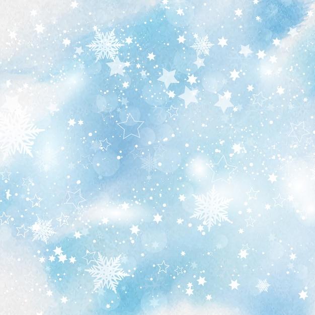 Copos de nieve y estrellas sobre fondo de acuarela for Estrella de nieve