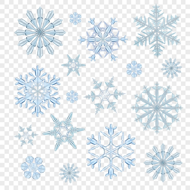 Copos de nieve azul transparente vector gratuito