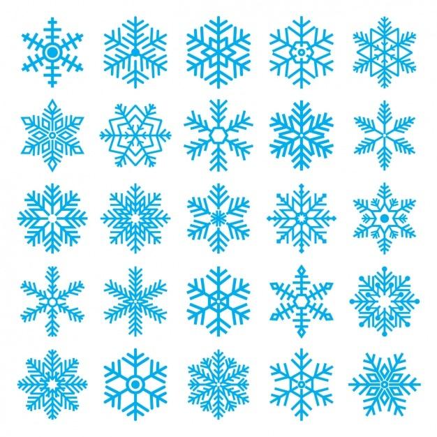 Copos de nieve diferentes vector gratuito