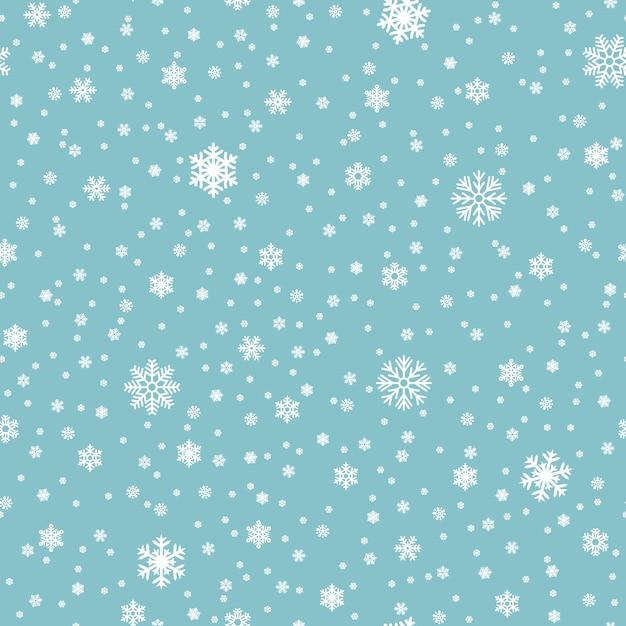 Los copos de nieve vector de patrones sin fisuras. sin fisuras patrón nevadas de navidad, invierno copo de nieve ilustración Vector Premium