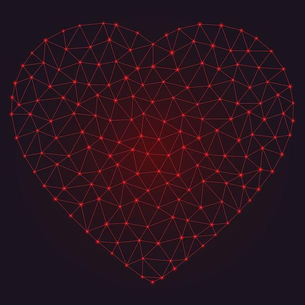 Corazón abstracto poligonal con puntos brillantes y líneas. Vector Premium