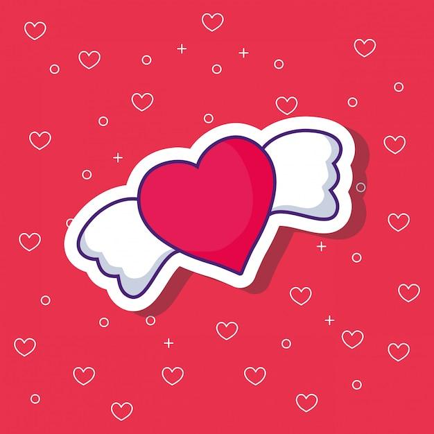 Corazón con alas Vector Premium