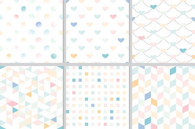 Corazón de arco iris pastel y colección geométrica de patrones sin fisuras Vector Premium