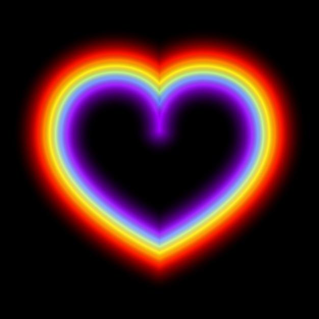 Corazón del arco iris que brilla intensamente de neón Vector Premium