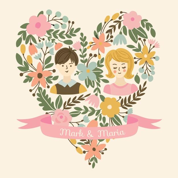 Corazón de boda con flores, la novia y el novio. invitación de boda con lugar para los nombres de los recién casados. Vector Premium