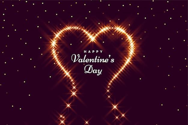 Corazón brillante para la tarjeta de felicitación feliz del día de san valentín vector gratuito