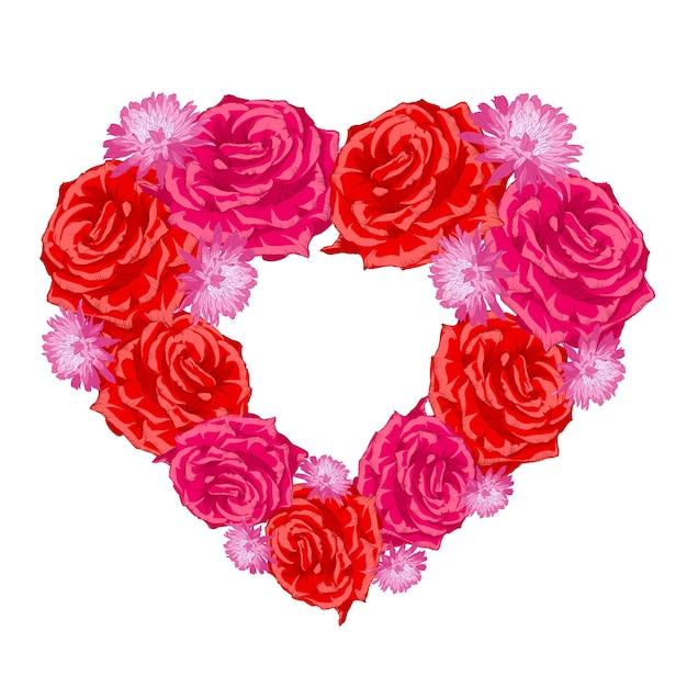 Corazón de capullo de rosa sobre blanco. vector gratuito