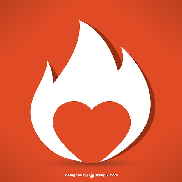 Corazón de fuego Vector Gratis