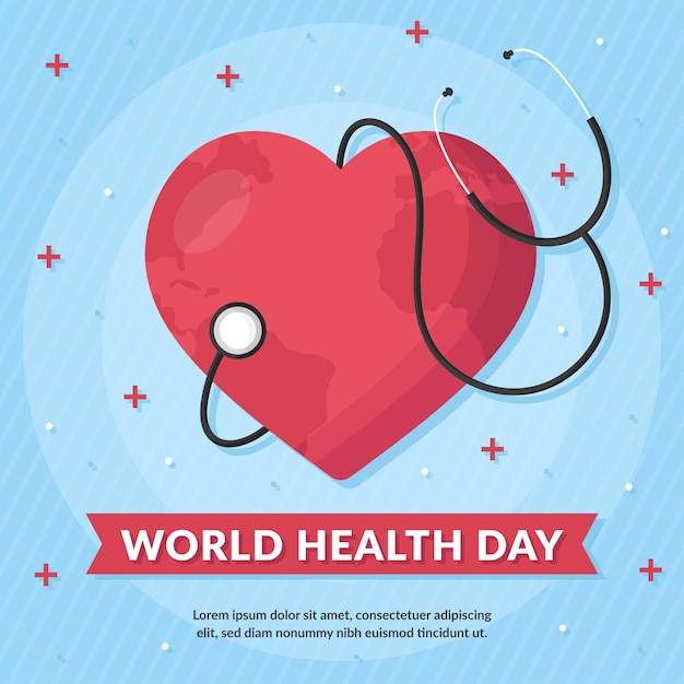 Corazón de diseño plano con estetoscopio día mundial de la salud vector gratuito