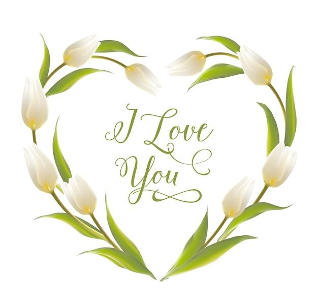 Corazón floreciente del marco del tulipán. vector gratuito