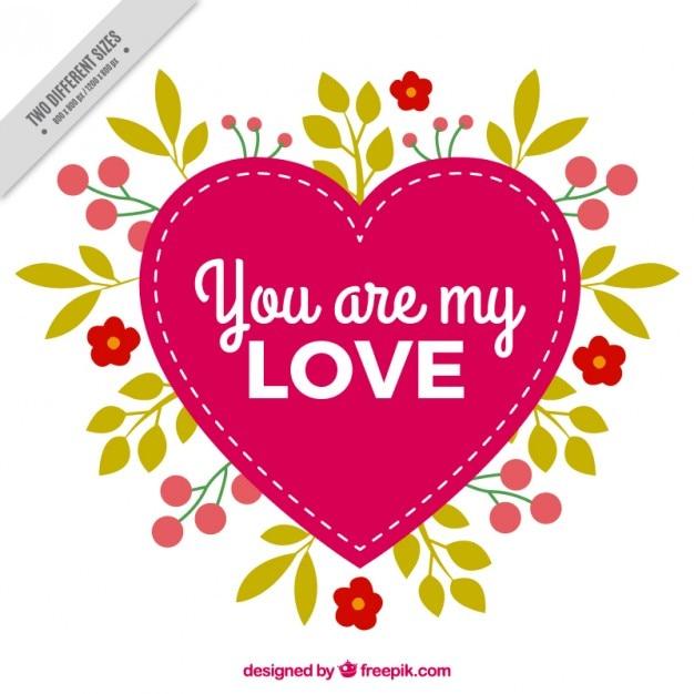 Corazón Con Frase Adorable Y Hojas Vector Gratis