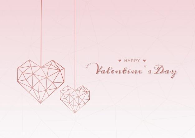 Corazón geométrico de san valentín Vector Premium