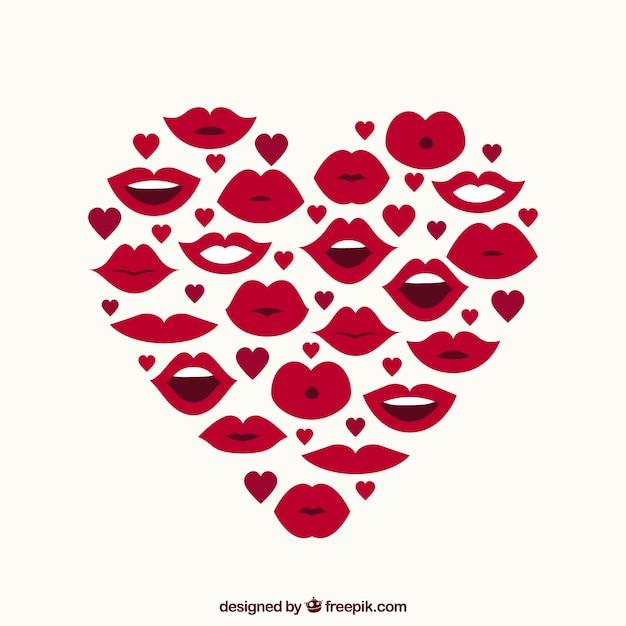 Corazón Hecho De Labios Y Pequeños Corazones Descargar Vectores Gratis