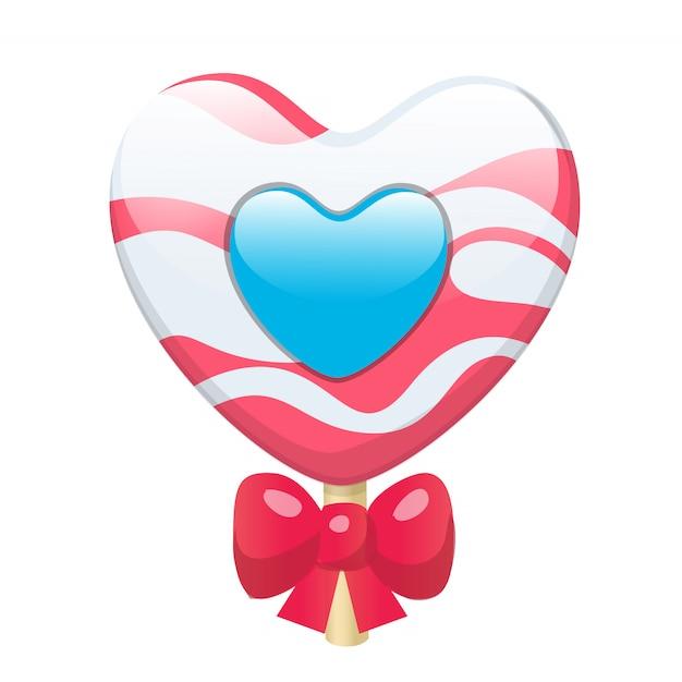 Corazón lindo precioso de la piruleta del caramelo de la historieta con el arco rojo. Vector Premium