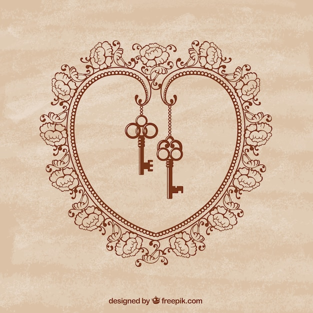 Corazón ornamental con llaves retro vector gratuito